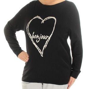 Womems Plus 3X Bonjour Heart Print Sweater